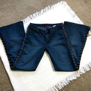 Vintage Mudd Lace-Up Flare Blue Jeans Size 11